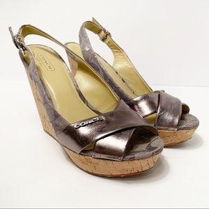 Coach Platform Cork Wedge Sandals